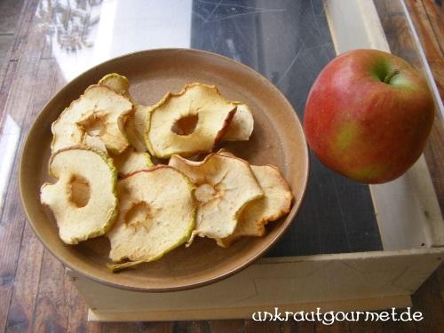 Im Solartrockner getrocknete Apfelscheiben