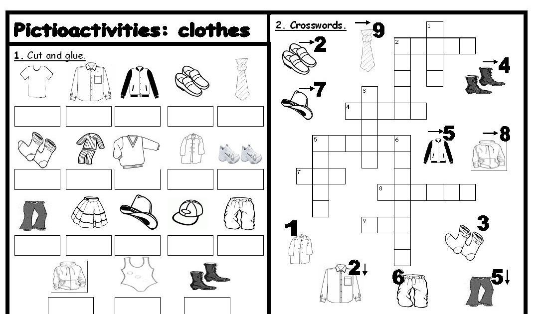 Fichas de inglu00e9s: Ficha Clothes 5: Clothes Crossword