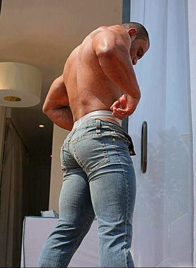men jeans Gay bulge tight