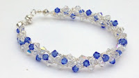 Country Blue Swarovski Crystal Wire Crochet Bracelet
