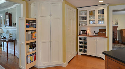 Modern wood storage cabinets with doors and shelves