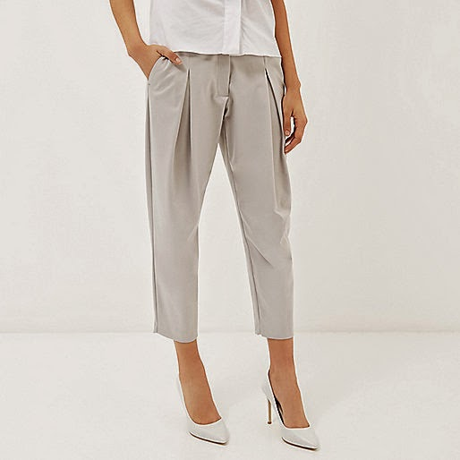 river island grey cropped trousers