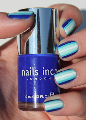 Blue ombre stripes nail art with Nails inc Southwark