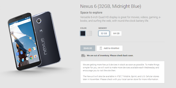Google Nexus 6 units to be available on Play Store every week