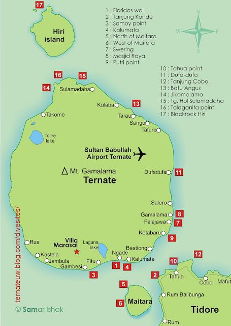 Beberapa spot diving di sekitar Pulau Ternate yang terkenal, yaitu: Floridas wall, Kalumata, Kota Baru, Belakang Mall, Mesjid Raya, Pelabuhan A. Yani, Sulamadaha, Swering/Falajawa, Talaganita, Tanjung Konde, dan Tanjung Cobo.