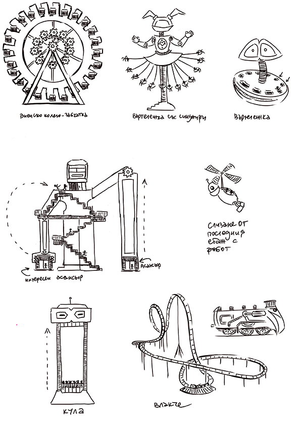 Sketches of the robot themed facilities