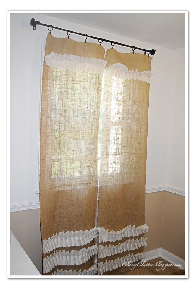 Christmas gift catalogs my take on ruffled burlap curtains for Burlap christmas curtains