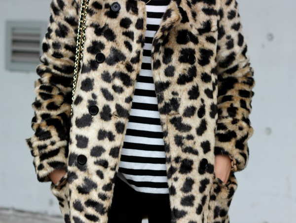 leopard faux fur jacket with stripes