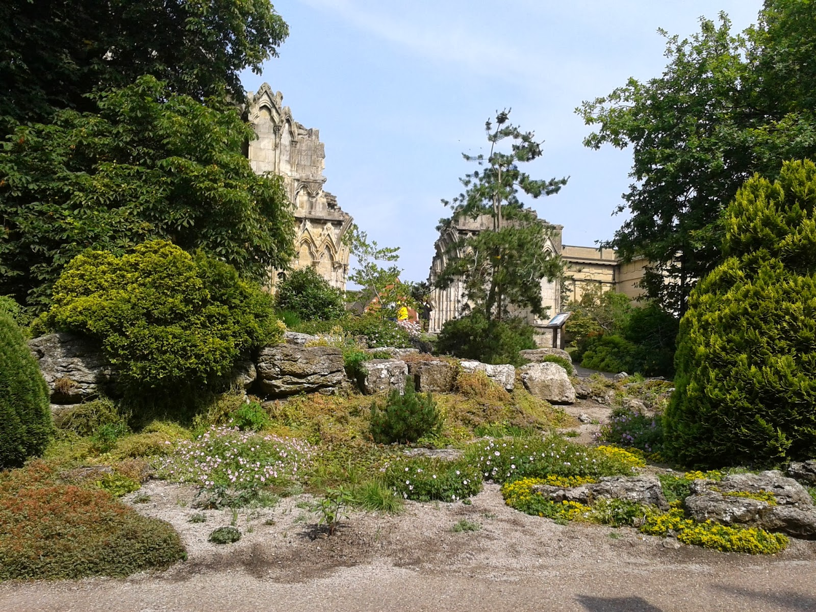 Garden and ruined church in York England