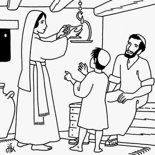 Colorear niño Jesus con su familia en su casa de Nazareth