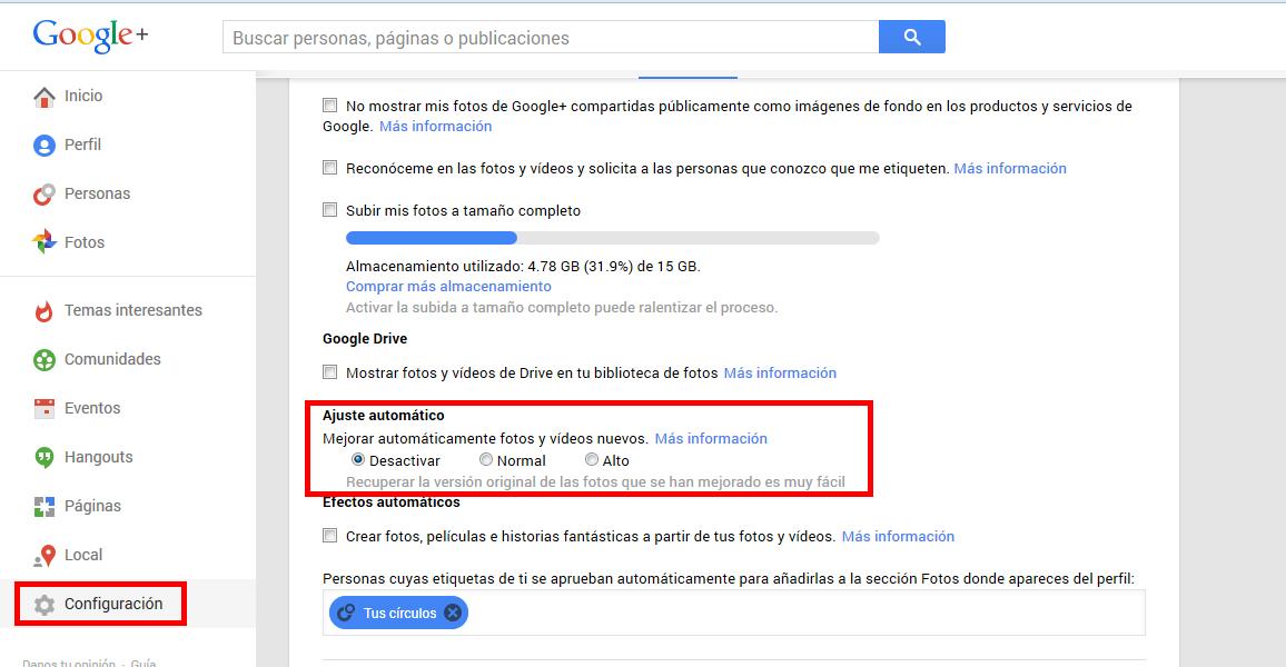 desactivar ajuste automático de imágenes en google +