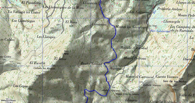 Map of Peloño Forest Walking Route Spain