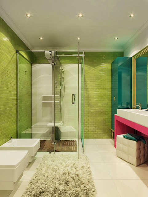 minimalist modern bathroom with lime, green and pink color