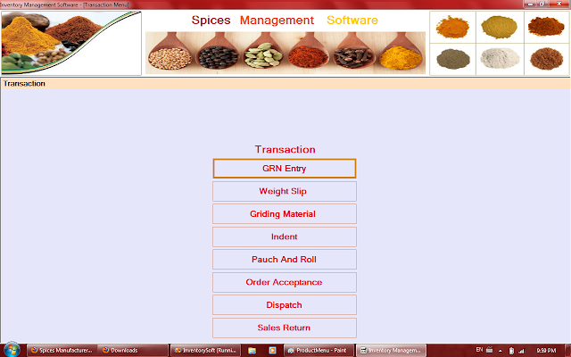 Transaction menu of Spices Management Software in Rajkot,Gujarat,India