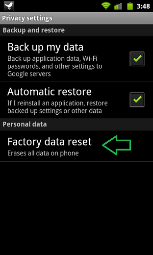 Reset android phone by factory reset settings