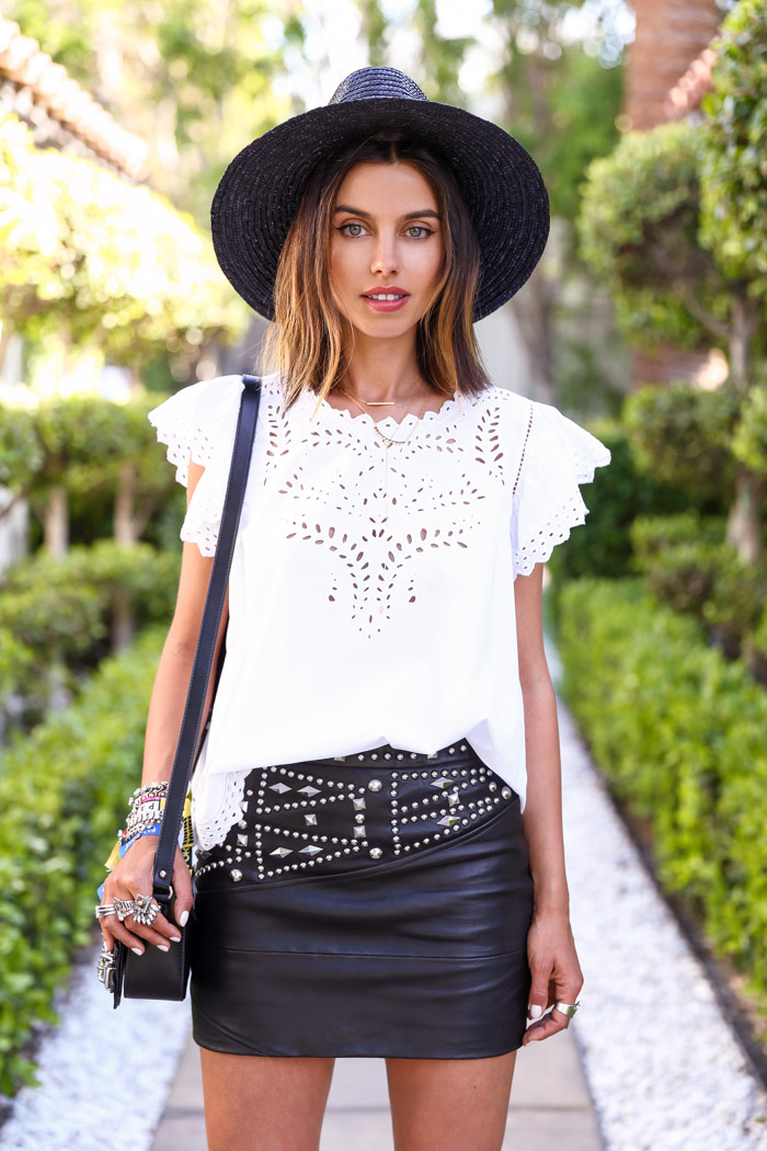 THE KOOPLES studded leather skirt, Coachella studded leather skirt