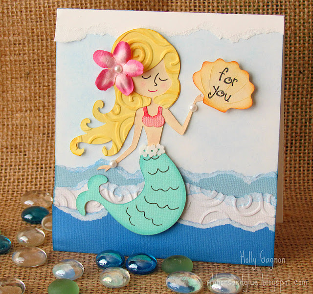 Mermaid Card made from tearing and chalking paper
