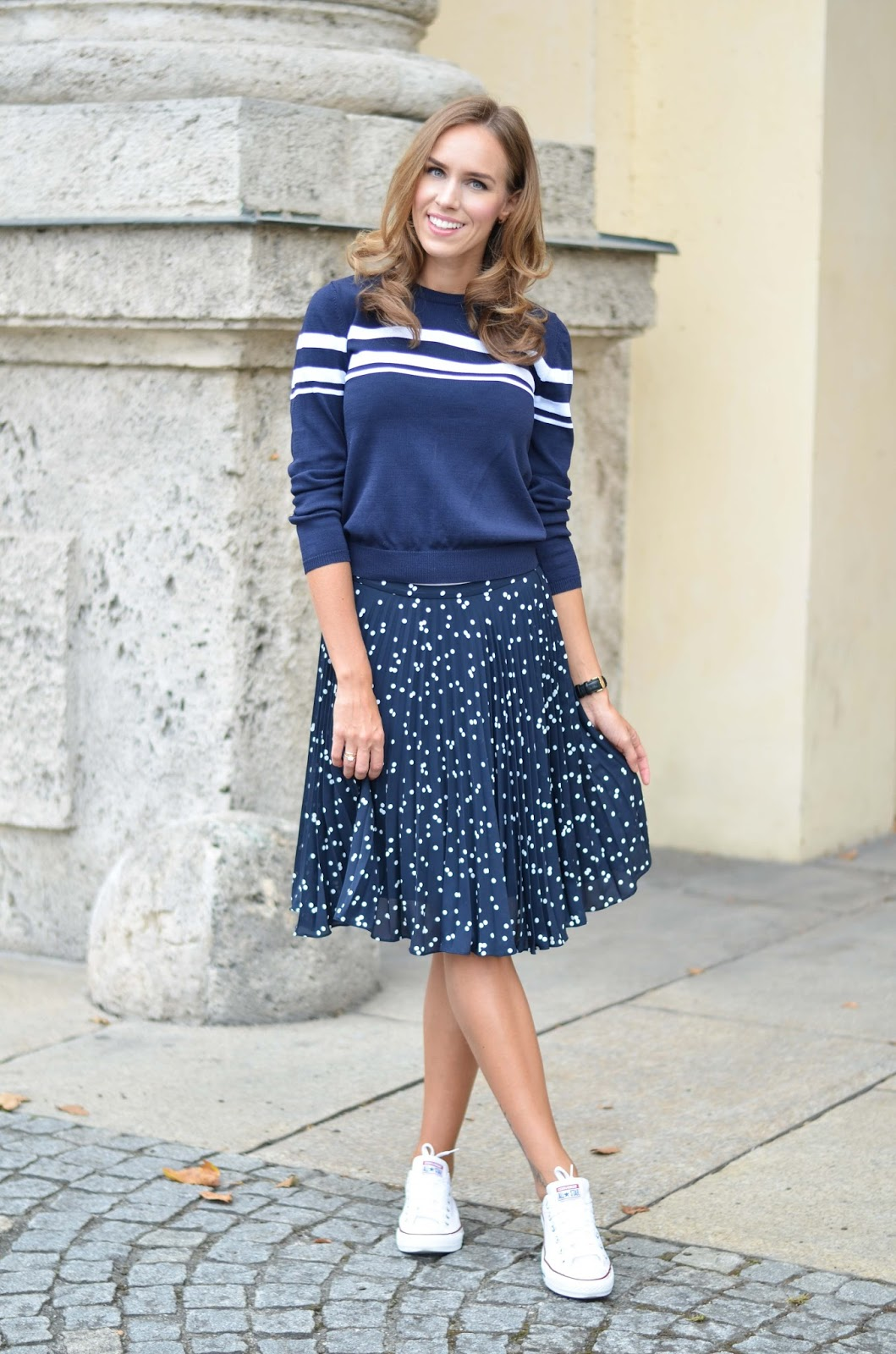 kristjaana mere blue sweater polka dot pleated skirt