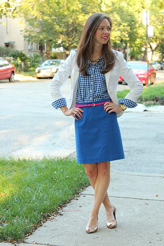 full cobalt skirt cobalt gingham shirt white blazer hot pink belt gold