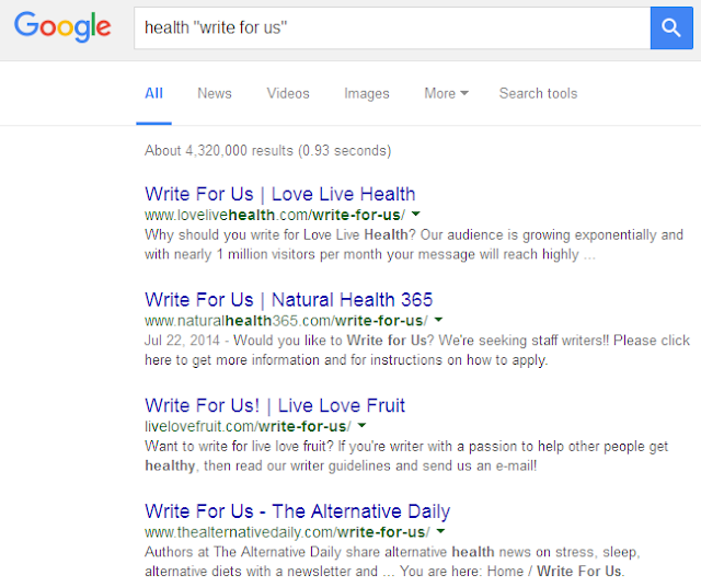 "health ""write for us"" search results"