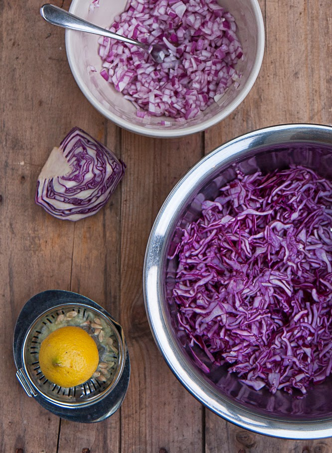 Homemade coleslaw recipe with red cabbage and red onion - by Alexis at www.somethingimade.co.uk