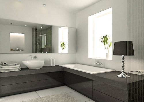 modernes badezimmer grau. Black Bedroom Furniture Sets. Home Design Ideas
