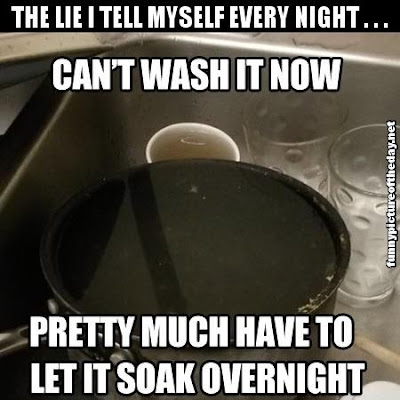 The Lie I Tell Myself Every Night Funny Wash Soak Pots Overnight Kitchen Cooking Humor