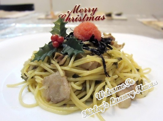 christmas mentaiko, pork and pickled vegetables spaghetti