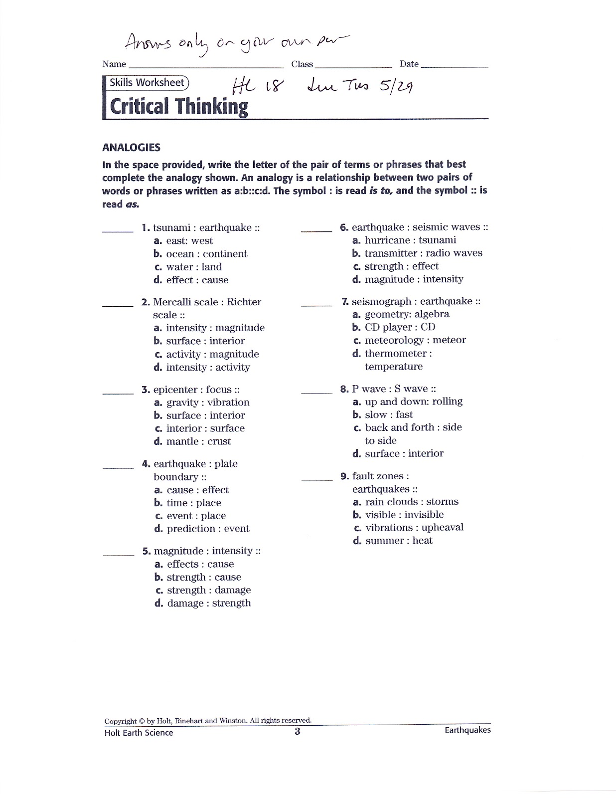 5th Grade Analogies Worksheets – careless.me