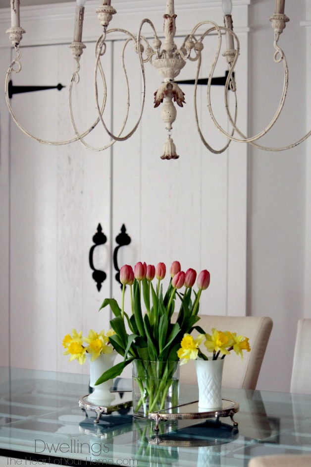 tulips and daffodils in the keeping room