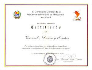 Reconocimiento, Por el Consulado de Venezuela en Miami.