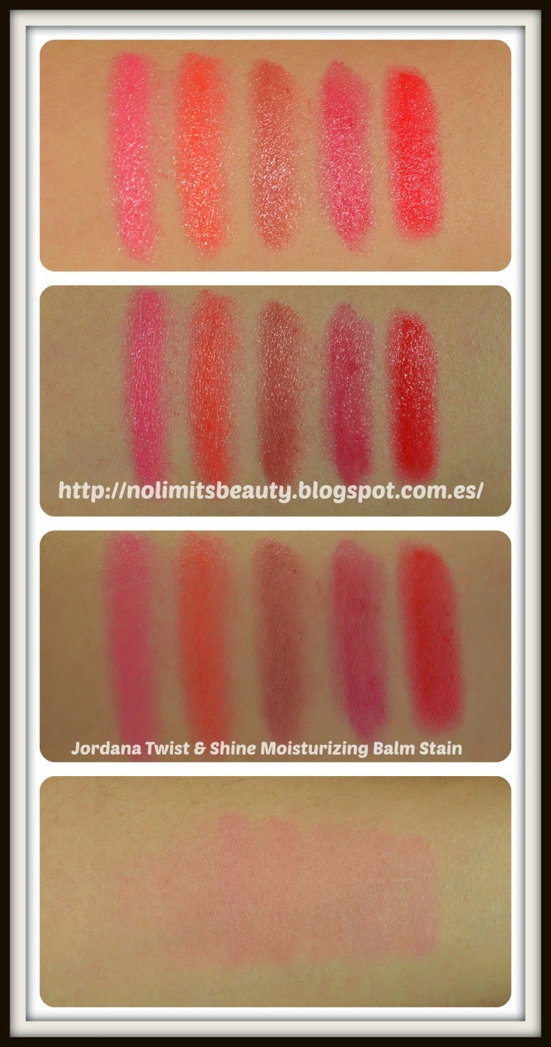 Jordana Twist And Shine Moisturizing Balm Stains: swatches & review