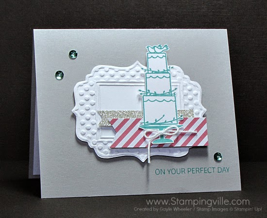 Wedding card featuring Stampin' Up! Your Perfect Day stamp set and Fun Frames Textured Impressions Embossing Folder.