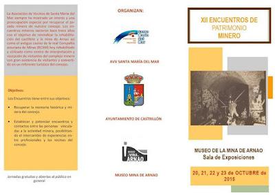 Tríptico de los XII Encuentros de Patrimonio Minero en Arnao