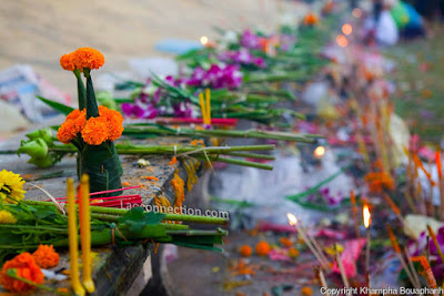 Offerings at the Tat Luang Festival. Photo Credit:  Khampa Bouaphanh
