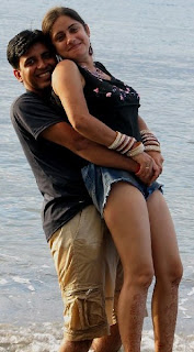 indian couple at beach goa