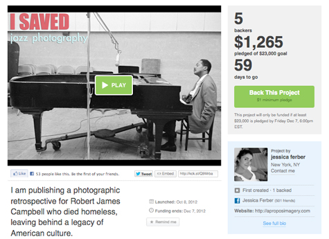 kickstarter, jazz, photography, music, book