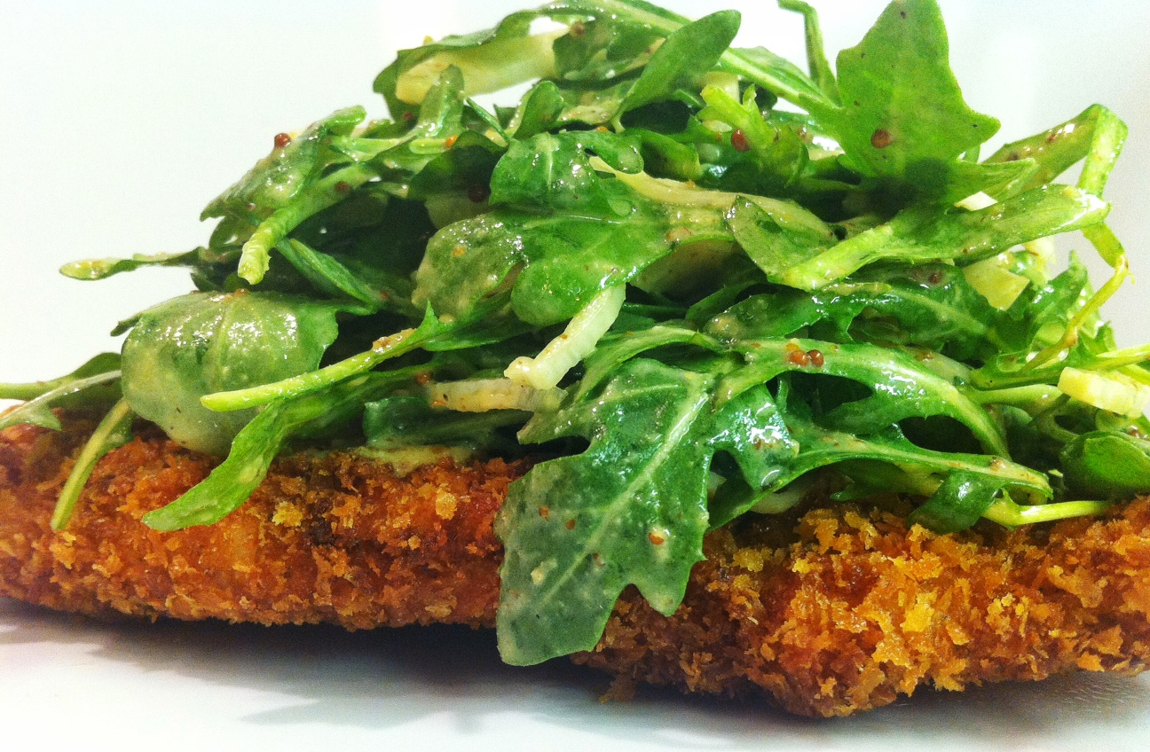 Chicken Mustard Milanese with an Arugula and Fennel Salad | savory