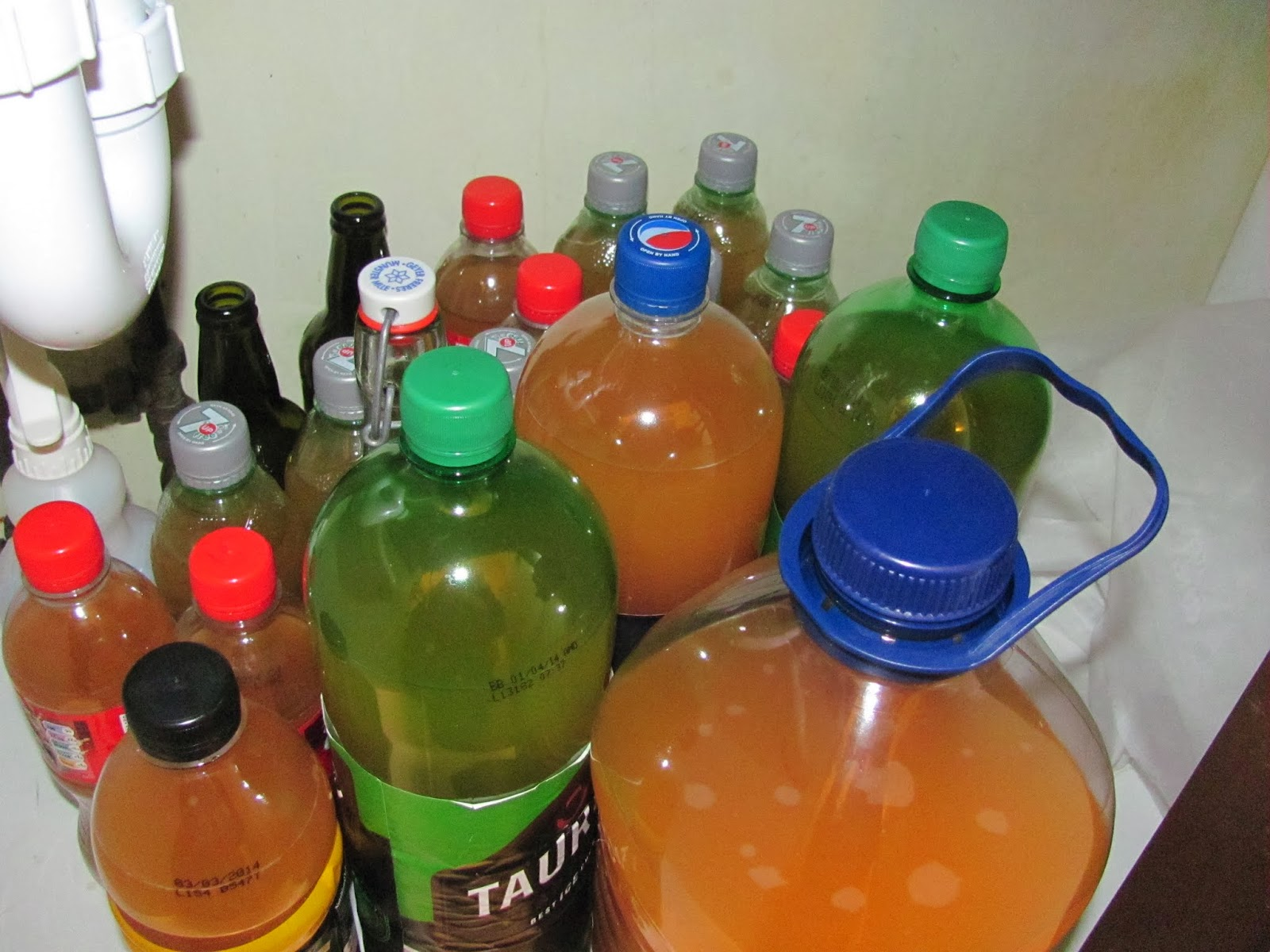 Homemade hard apple cider is bottled under the sink in 500 mL, 1L, and 2L bottles with the rest in a 5L water jug in Dublin, Ireland