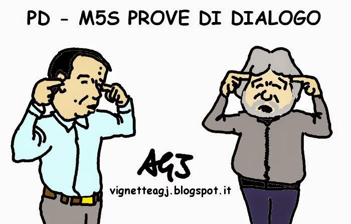 Renzi, Grillo, diaologo, vignetta , satira , PD, M5S
