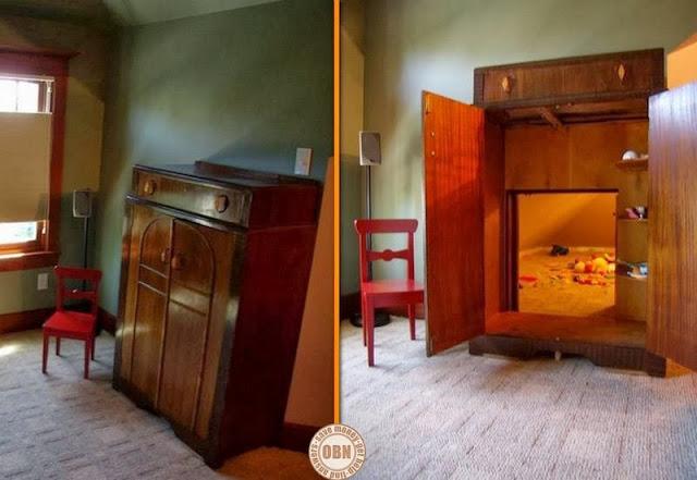 Verstecktes Spielzimmer hinter einem Vertiko - perfekt für die Entwicklung der Kinder!