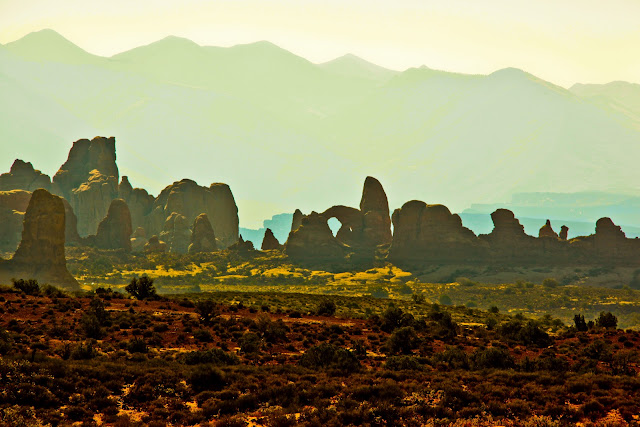 A distant view of The Windows in Arches National Park.
