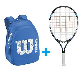 Set Wilson 23 modrý - raketa JUICE 23 a batoh Match JR modrý