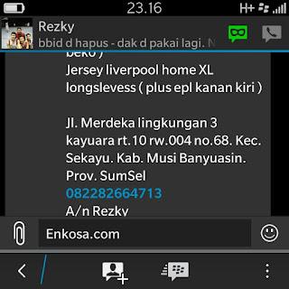 Konfirmasi pemesanan jersey dan alamat Rezky oleh enkosa sport di enkosa sport toko jersey online terpercaya
