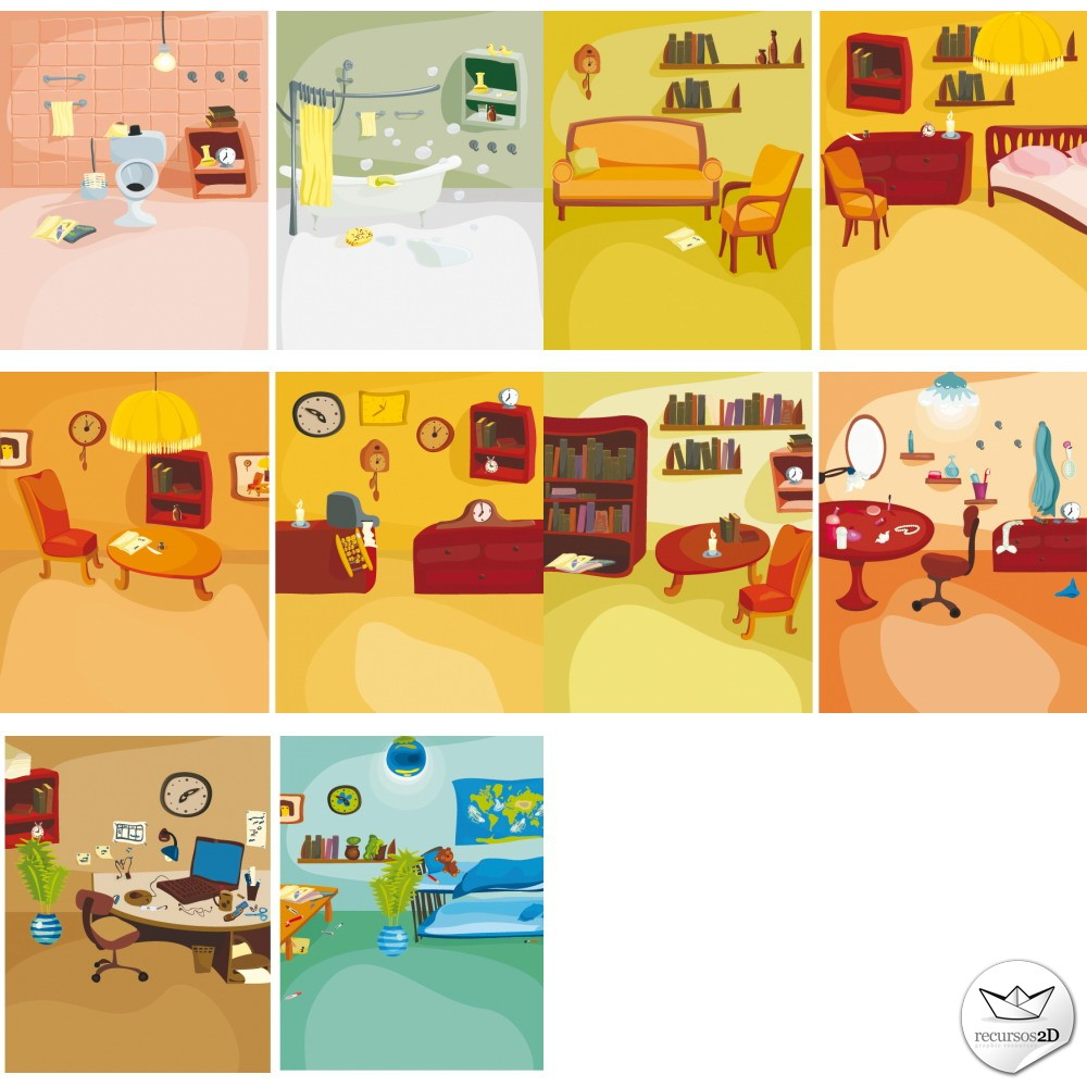 Imagenes De Baño Animadas:Escenas de interiores estilo cartoon (Cartoon Style Interior Vectors)