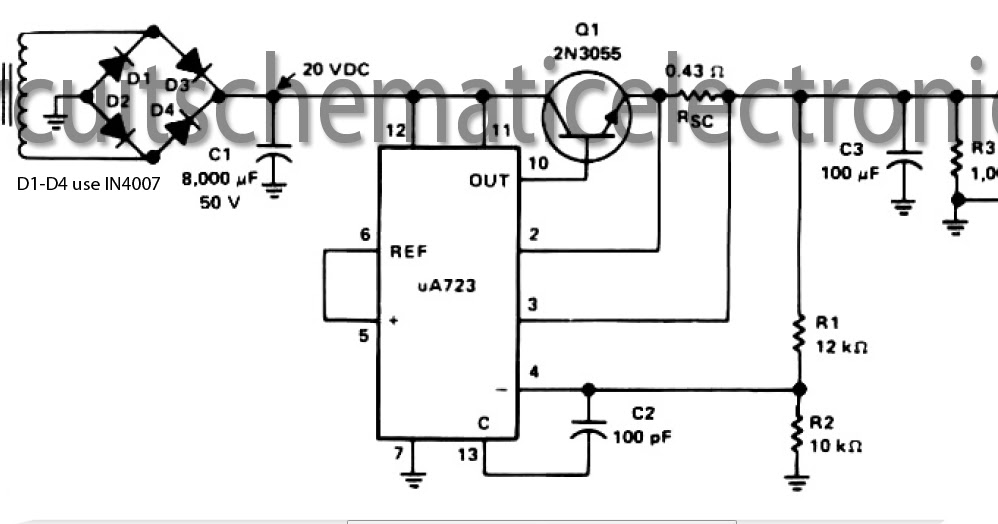 15 v output regulated power supply circuit with ua723 and