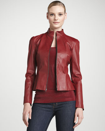 Red Leather Cropped Jacket Dress Idea