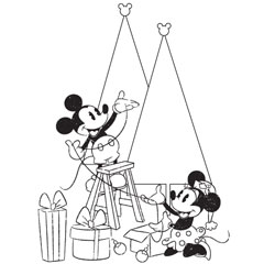 free printable mickey minnie christmas coloring page