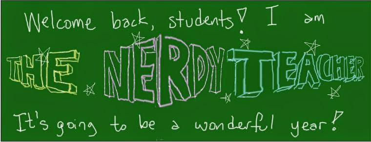 The Nerdy Teacher written on a chalkboard
