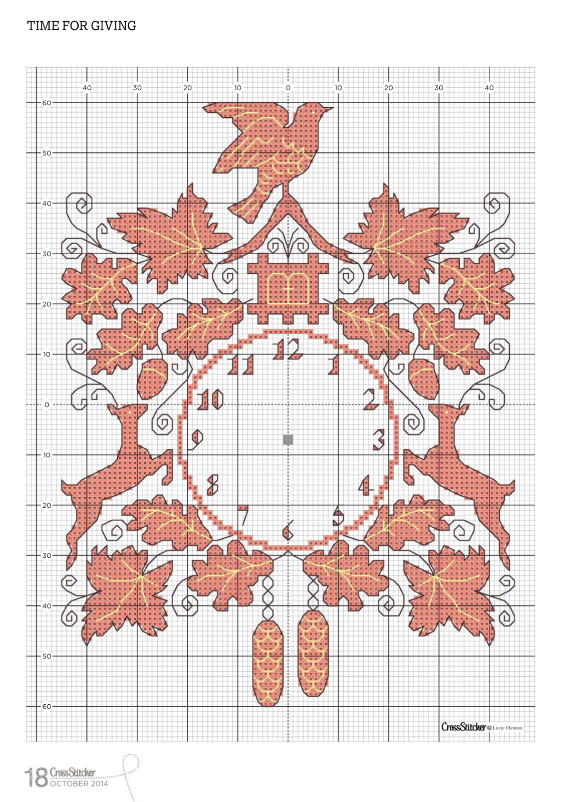 Вышивки. схема вышивки часов